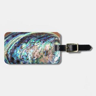 Paua abalone blue and green shellfish detail luggage tag