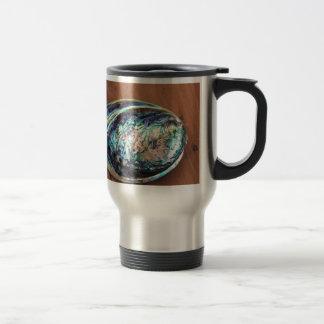Paua abalone blue and green shellfish detail travel mug