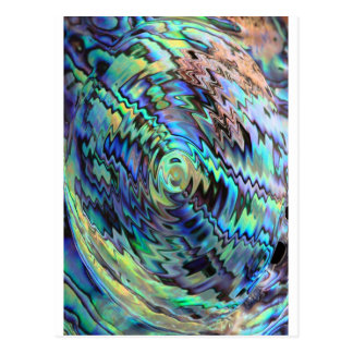 Paua abalone shells blue green abstract design post cards