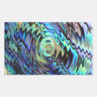 Paua abalone shells blue green abstract design rectangular sticker