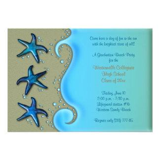 Paua Shell Starfish Beach Graduation Invitation