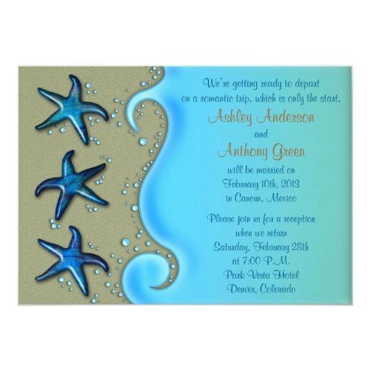 Wedding Reception Only Invitations: Paua Shell Starfish Post Wedding Reception Only Invitation