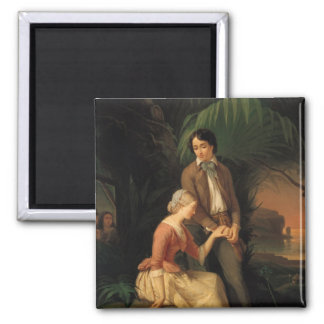 Paul and Virginie 2 Inch Square Magnet