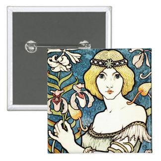 Paul Berthon Salon Des Cent Vintage Art Nouveau 2 Inch Square Button