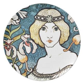 Paul Berthon Salon Des Cent Vintage Art Nouveau Dinner Plate