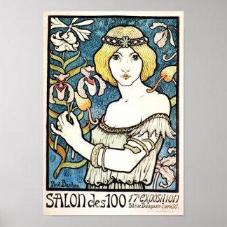 Paul Berthon Salon Des Cent Vintage Art Nouveau Poster