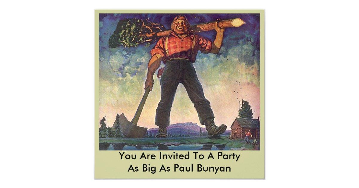 Paul Bunyan Giant Logging Woods Party Invitation Zazzle Com