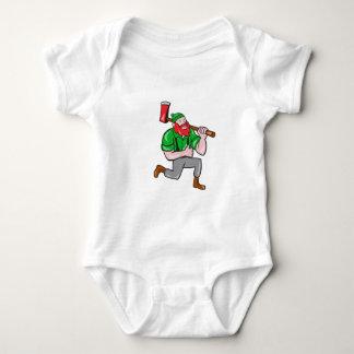 Paul Bunyan LumberJack Axe Kneeling Cartoon Baby Bodysuit