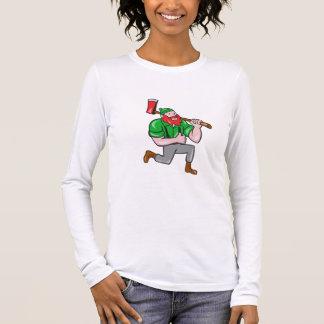 Paul Bunyan LumberJack Axe Kneeling Cartoon Long Sleeve T-Shirt