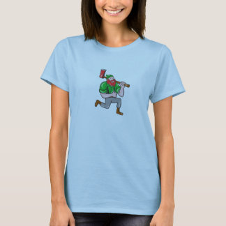 Paul Bunyan LumberJack Axe Kneeling Cartoon T-Shirt