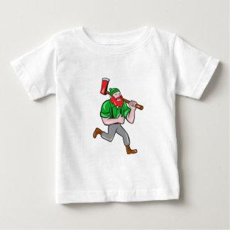 Paul Bunyan Lumberjack Axe Running Cartoon Baby T-Shirt