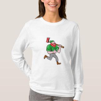 Paul Bunyan Lumberjack Axe Running Cartoon T-Shirt