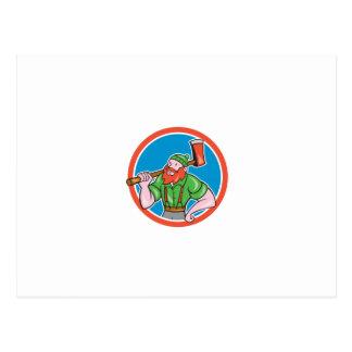 Paul Bunyan LumberJack Circle Cartoon Post Cards
