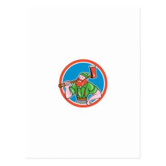 Paul Bunyan LumberJack Circle Cartoon Post Card