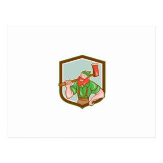 Paul Bunyan LumberJack Shield Cartoon Postcards