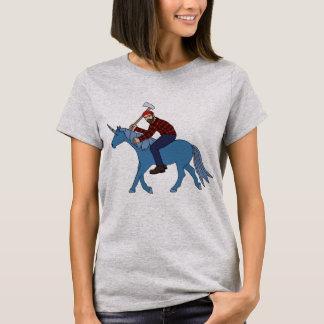 Paul Bunyan Riding Blue Unicorn T-Shirt