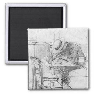 Paul Cesar Helleu at a table in a cafe 2 Inch Square Magnet