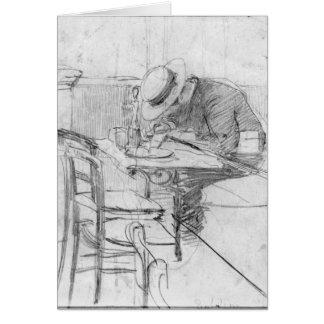 Paul Cesar Helleu at a table in a cafe Card