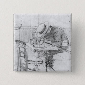 Paul Cesar Helleu at a table in a cafe Pinback Button