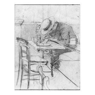 Paul Cesar Helleu at a table in a cafe Postcard