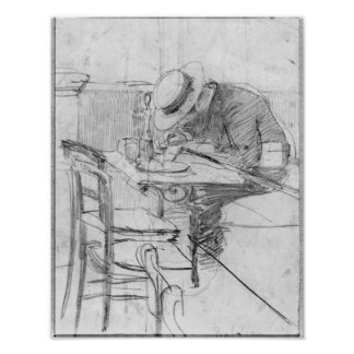 Paul Cesar Helleu at a table in a cafe Poster
