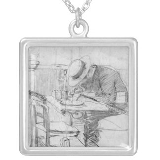 Paul Cesar Helleu at a table in a cafe Silver Plated Necklace