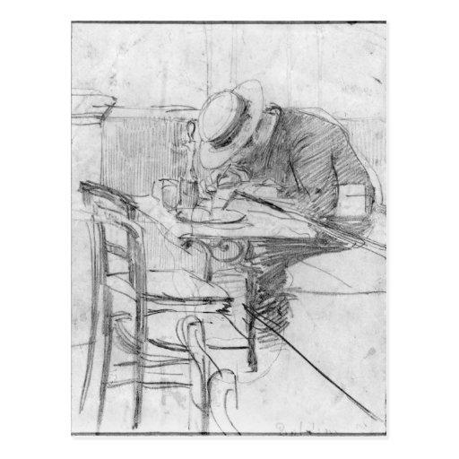 Paul Cesar Helleu en una tabla en un café Postal