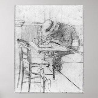 Paul Cesar Helleu en una tabla en un café Póster