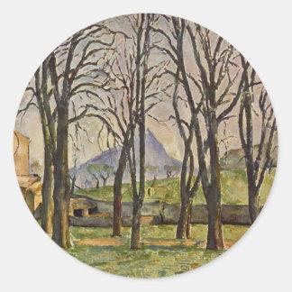 Paul Cezanne: Árboles de castaña en el Jas de Pegatina Redonda