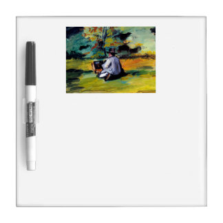 Paul Cezanne artist at work outdoors painting art Dry Erase Board