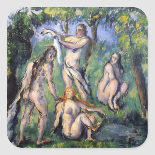 Paul Cezanne - Bathers 2 Square Sticker