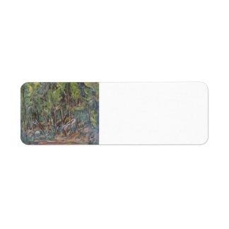 Paul Cezanne- en el bosque de Fontainbleau Etiqueta De Remite