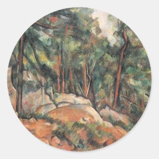 Paul Cezanne - en las maderas Pegatina Redonda