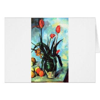 Paul Cezanne - florero de tulipanes Tarjetas