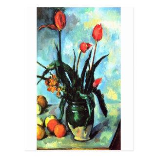 Paul Cezanne - florero de tulipanes Tarjeta Postal