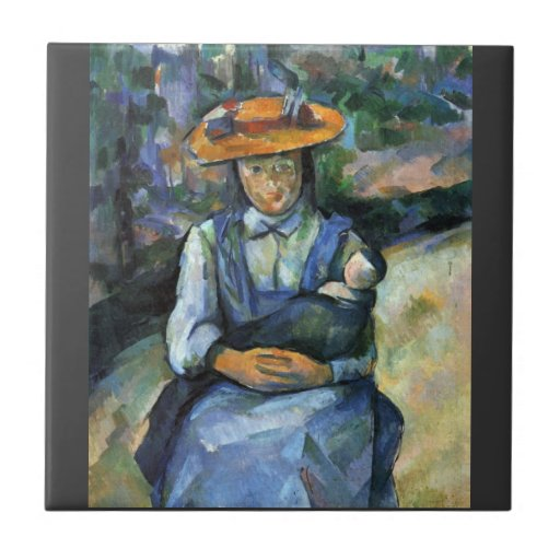 Paul Cezanne - Girl with Doll Small Square Tile