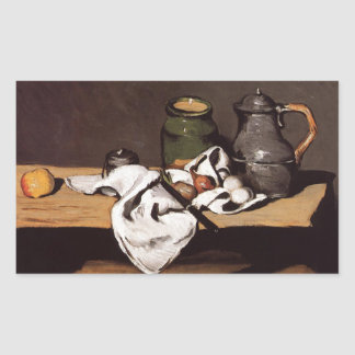 Paul Cezanne Green Pot and Pewter Jug 1870 Rectangle Stickers