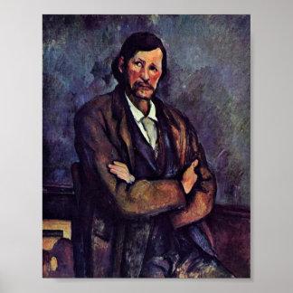 Paul Cezanne - hombre con los brazos doblados Posters