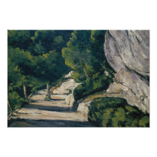 Paul Cezanne - Landscape. Road with Trees in Rocky Poster