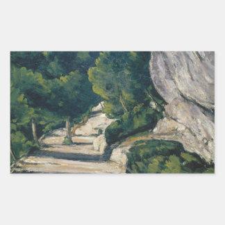 Paul Cezanne - Landscape. Road with Trees in Rocky Rectangular Sticker