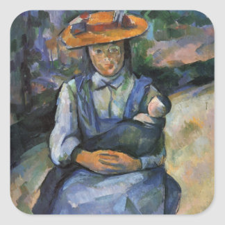 Paul Cezanne- Little Girl with a Doll Square Sticker