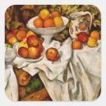 Paul Cézanne - manzanas y naranjas Pegatina Cuadrada