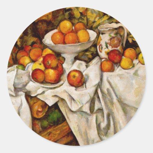 Paul Cézanne - manzanas y naranjas Pegatina Redonda