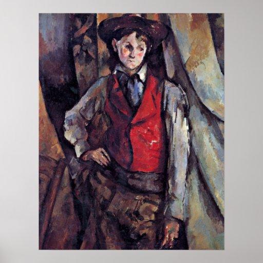 Paul Cezanne - muchacho en un chaleco rojo Poster