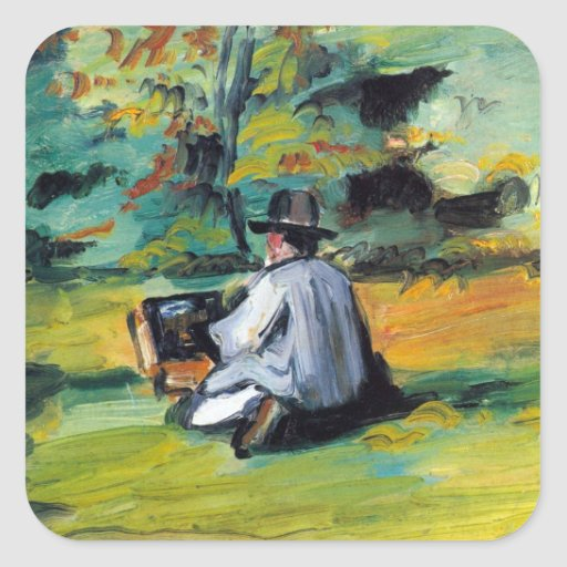 Paul Cezanne - Painter at Work Square Sticker