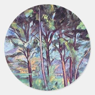 Paul Cezanne - Pines And Aqueduct Fine Art Classic Round Sticker