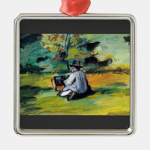 Paul Cezanne - pintor en el trabajo Adorno Navideño Cuadrado De Metal