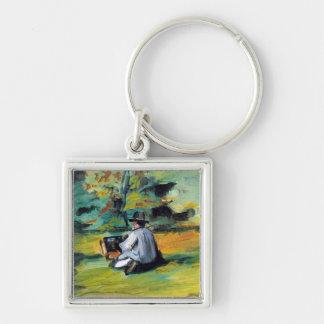 Paul Cezanne - pintor en el trabajo Llavero Cuadrado Plateado