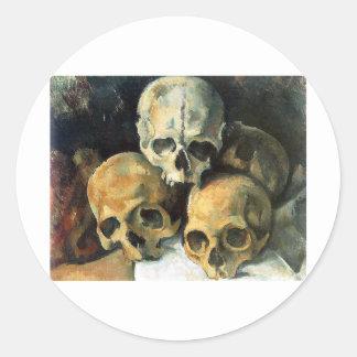 Paul Cézanne - Pyramid of Skulls Classic Round Sticker