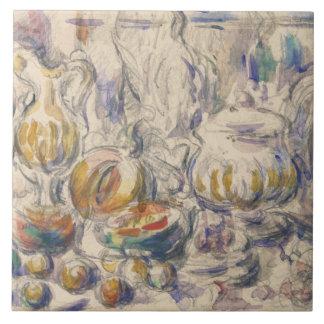 Paul Cezanne - sopera del pote y de sopa Azulejo Cuadrado Grande